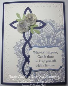 Elegant Lattice Cross First Communion Cards - lattice die, hello doily, stampin up, too cool stamping