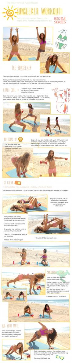 Your Sunseeker ☀ Workout ~ Tones your thighs, arms, waistline, booty and lower abs :)