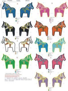 coloured dala horses