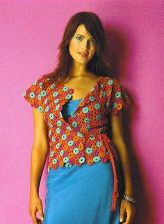 Art cardigan with circle: free crochet patterns