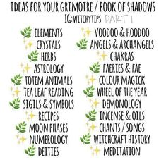 "Gypsy Witch on Instagram: ""This is a great list if your working on or starting a BOS. #bookofshadows #bos #grimoire #magick #spells #crystals #herbs #astrology…"""