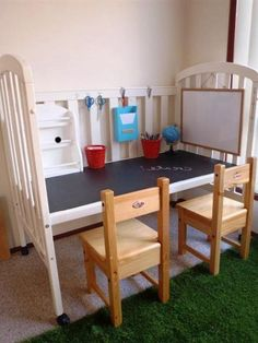 DIY:: Kid's Desk From Upcycled Crib ! Love This And so Simple to create ! Decor Ideas, Cribs To Desks, Upcycling Diy Kids, Grandkids Ideas, Recycle Baby, Cribs Upcycling, Diy Kids Desks, Baby Furniture, Upcycling Ideas