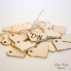 Wedding Favor Personalized Wood Heart  Tags by RiverRoadRustics, $35.00