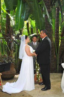 Sunken Gardens wedding ceremony in the meditation garden at Sunken Gardens in St Petersburg, Florida.