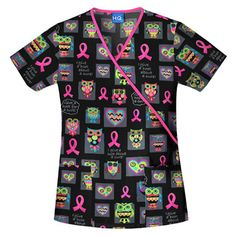 I Give a Hoot Print with Pink Ribbons #Scrubs