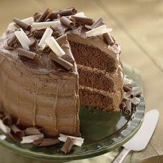 Dark Cocoa Buttermilk Cake with cocoa mascarpone frosting. Yum!