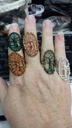 Wire tree of life rings
