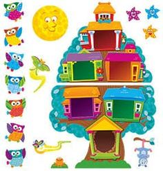 Decorate your classroom walls with a full-sized bulletin board set that encourages leadership skills and inspires good behavior. The Owl Stars™ Job Chart Bulletin Board  Label the birdhouses with job duties or anything you choose!