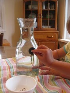 Fun with magnets: place paperclips into a vase of water, then use a magnet to guide them up to the top.