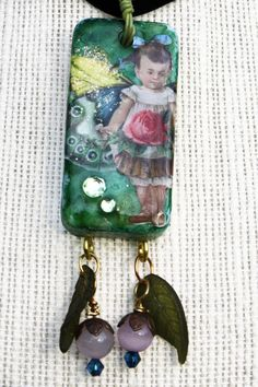 Rose Butterfly Girl Domino Pendant