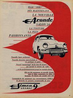 Simca 1954 Aronde Vintage advert Cars | Hprints.com