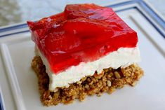Jello Pretzel Salad @Courtney Baker Maratta like this recipe a little better...says salad but is a layered dessert like a chilled cake