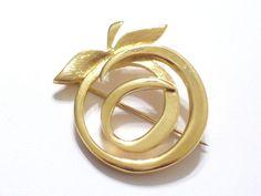 Rare Renoir Sauteur Golden Glow Apple Pin Brooch, Gold Plated Apple Pin Brooch  #RenoirSauteur