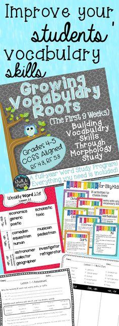 Growing Vocabulary Roots - Building Vocabulary Skills Through Morphology Study - Unit 1 - Teaching vocabulary through root words, prefixes, and suffixes - CCSS aligned - A comprehensive vocabulary program for grades 4-5!