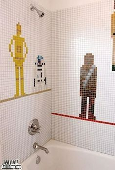 I'm not sure how I'd feel about 3PO and Chewy ogling my goodies . . . but still an amazing tile job!