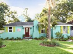 turquoise Tybee Island cottage designed by Jane Coslick