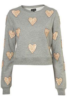 sequin heart embellished sweatshirt