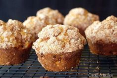 Pumpkin Apple Streusel Muffins. Just in time for Fall with a BIG glass of ice cold milk.