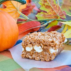 "Caramel Filled Pumpkin Spice Rice Krispie Treats  ""This recipe takes the regular old rice krispie treat to a new level!"""