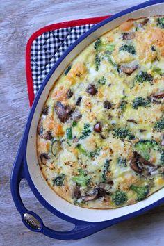 Crustless Brie, Vegetable and Egg Bake #recipe - RecipeGirl.com