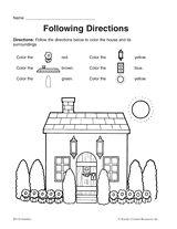 Follow directions worksheet 1st grade