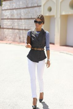 Belt a slightly larger vest at your natural waist for a look that is timeless and, paired with a fitted tee and narrow pants or jeans, is made for the office.