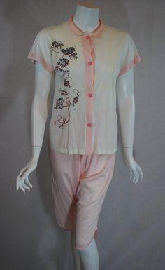 1950s Pink Kitten Pajamas.