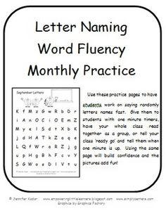 Younger Grades - Letter Naming Fluency Freebie