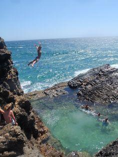 Cliff Jumping, Oahu, Hawaii.