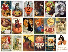 Free Vintage Printable - Halloween collage or tags