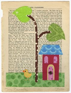 Fabric Collage stitched to a book page!