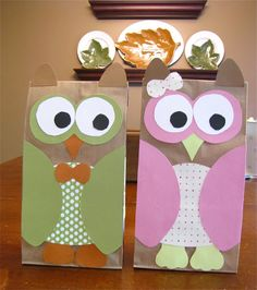 DIY Owl party favor bags