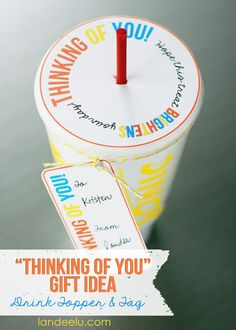 Thoughtful Gift Idea: Printable Drink Topper and Tag from landeelu.com. Such an easy way to make someone's day!