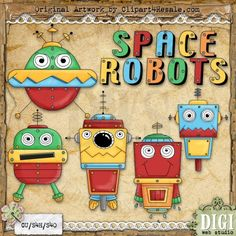 Space Robots 1 - Whimsy Primsy Clip Art Download