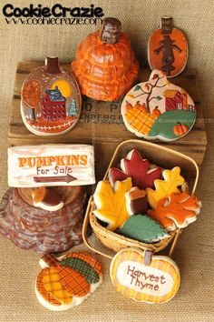 Pretty Fall Scenes on Pumpkin Cookies by Cookie Crazie