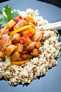 Sweet and spicy chicken with pineapple and rice.