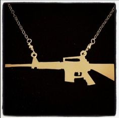 AR-15 Necklace (Sterling Silver/Gold-Plated) - GunGoddess.com