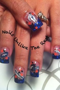 Denver Bronco Nails