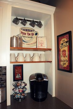 "Photo Reminder: Create a ""coffee station"" that's easy for guests to use: not in the kitchen corner, outlet, close to water and trash (sort of) with: mugs, sugar, creamer, spoons, filters"