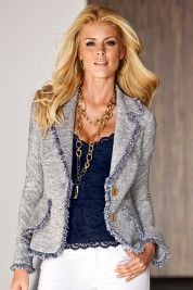 Mixed tweed jacket. Great with jeans or white pants. $99 on sale