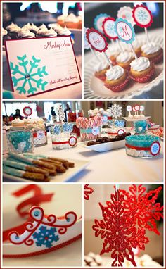 Aqua & Red Winter 1st Birthday Party
