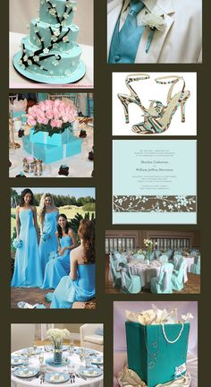 Tiffany Blue Wedding Theme Website:  Brown & deep golds look ultra chic & sophisticated. Light lemon yellow for springlike feel. Deep fuschia/hot pink for warm summer look. Coral + Tiffany blue for tropical hot summer look, beach or summer wedding. Cool greens for cool summer look w/ an aquatic look of summer in the  Caribbean. Metallic silver + Tiffany blue  for winter combination. Silver accessories look better than gold when using Tiffany blue except when gold or yellow is your accent  color.