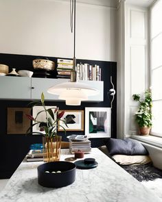 Scandinavian design with color and marble details.