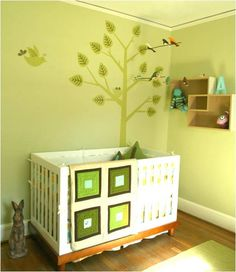 green wall decal with birds