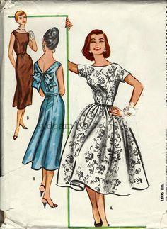 Vintage 1955 Low Tied V Back Dress...Full or Slim Skirt...Sleeve Variations...McCall's 3898 Bust 31 UNCUT