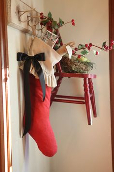 simple. holiday, christma stock, little red, seasonal decor, christmas decorations, christma decor, coat hooks, hanging chairs, christmas stockings