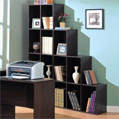 Coaster Decarie Asymmetrical Cube Shelf Bookcase in Mahogany - 800213 - Lowest price online on all Coaster Decarie Asymmetrical Cube Shelf Bookcase in Mahogany - 800213