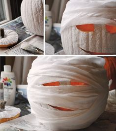 DIY mummy pumpkin: After carving, paint pumpkin white then glue crepe paper strips and start wrapping!