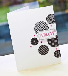 adorable charcoal gray patterned circles with splashes of pink