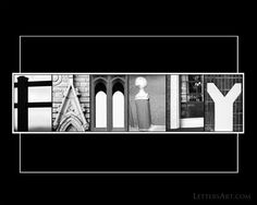 FREE letter art, alphabet art, nature and architectural font download of the word family. 8x10 print can be printed on your home computer or sent to any photo lab.
